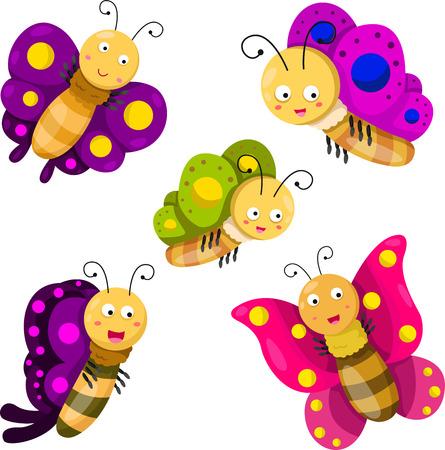 mariposa caricatura: Ilustrador de Conjunto de la historieta de la mariposa