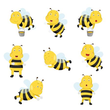 Illustrator of bees funny cartoon Vector