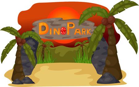 illustration of Dino Park Evening background Ilustração
