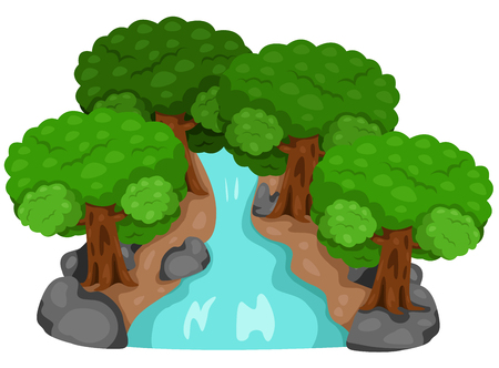 Illustrator of waterfall and Forest nature Vector