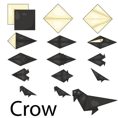 cuervo: Ilustrador de origami cuervo Vectores