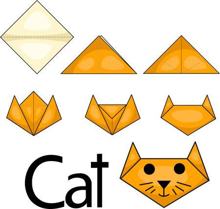 Illustrator of origami cat face