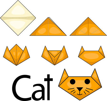 Illustrator of origami cat face