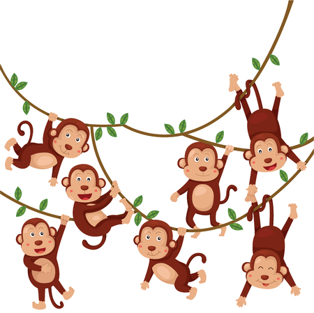 Illustrator of monkeys funny cartoon Vector