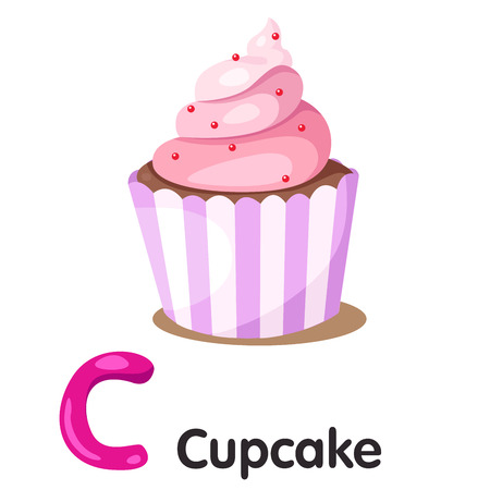 cupcakes isolated: Illustrator of C font with cupcake Illustration