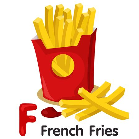 vegetable fat: Illustrator of f font with french fries Illustration