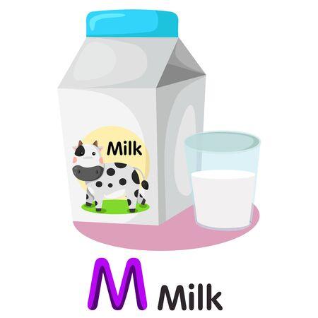 Illustrator of M font with milk