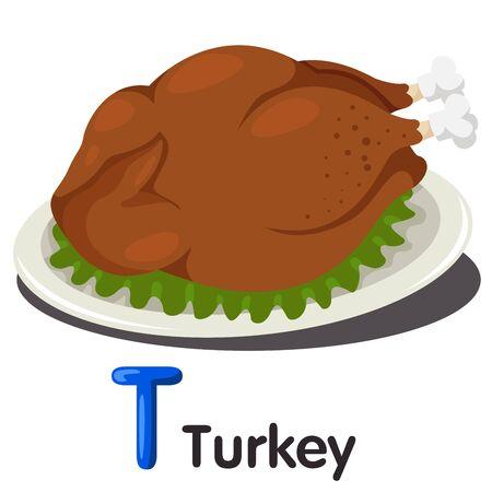 garnished: Illustrator of T font with turkey