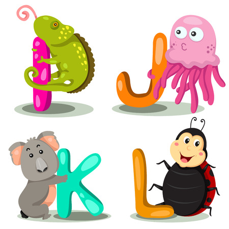 Illustrator alphabet I,J,K,L Vector