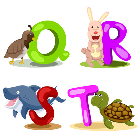 Illustrator alphabet Q,R,S,T Vector