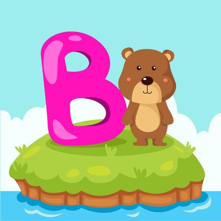 alfabeto con animales: Ilustrador de la letra B es para el oso