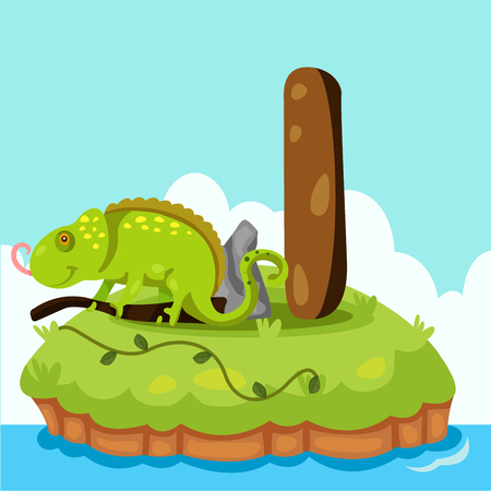 Illustrator of Letter i is for iguana Vector