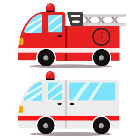 camion grua: ambulancia y camión de Bomberos Vectores