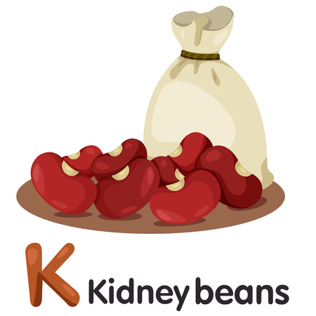kidney bean: Illustration of k font with kidney beans