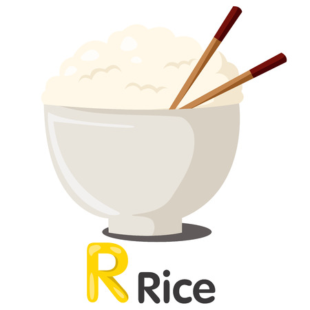 bowl with rice: Illustrator of R font with rice