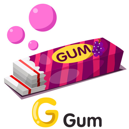 chewing: Illustration of g font with gum