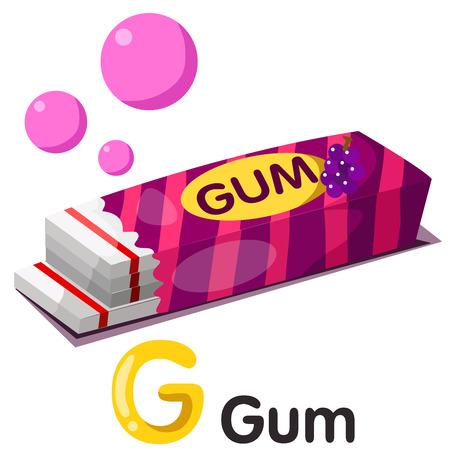 Illustration of g font with gum