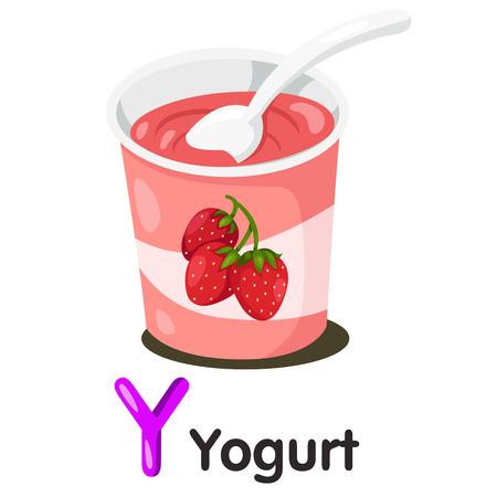 Illustrator of y font with Yogurt Illustration