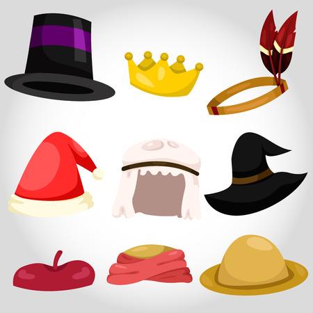 Illustration of hat and cap set
