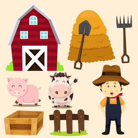 illustration of farm animals and related items