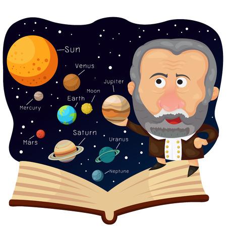 Ilustrador de Galileo y libro con universo Foto de archivo - 46800169