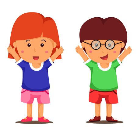 girl happy: Illustrator of boy and girl happy Illustration