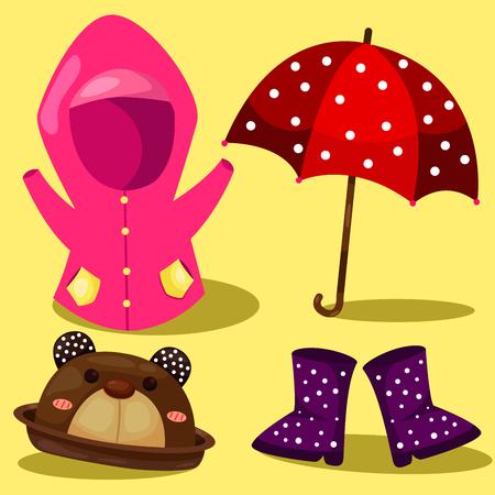 spring coat: Illustrator of raincoat set Illustration