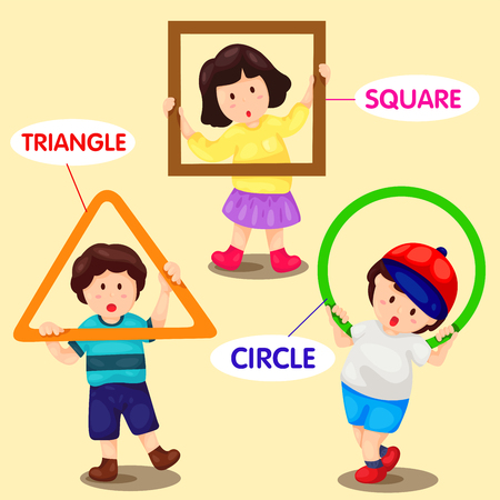 practice primary: illustrator of kids with basic shapes Illustration