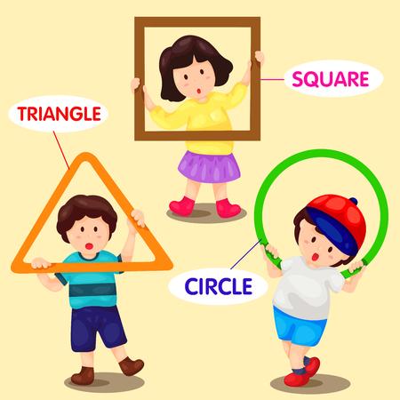 illustrator of kids with basic shapes Ilustração