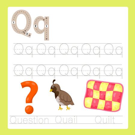 caricaturas de ranas: Ilustrador de ejercicio Q AZ vocabulario de dibujos animados