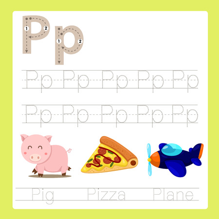 Illustrator of P exercise A-Z cartoon vocabulary