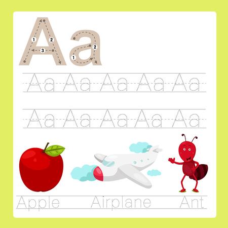 alligator cartoon: Illustration of A exercise A-Z cartoon vocabulary Illustration