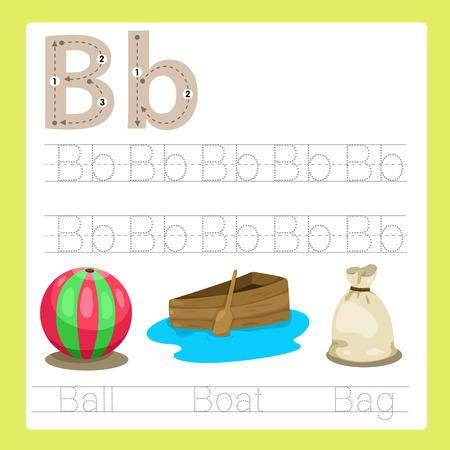 pelota caricatura: Ilustración de ejercicio B AZ vocabulario de dibujos animados Vectores