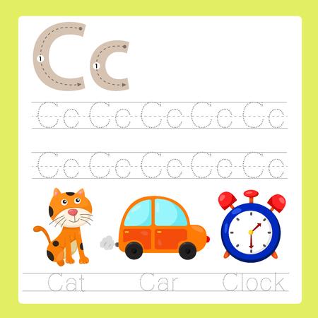 cat alphabet: Illustration of C exercise A-Z cartoon vocabulary Illustration