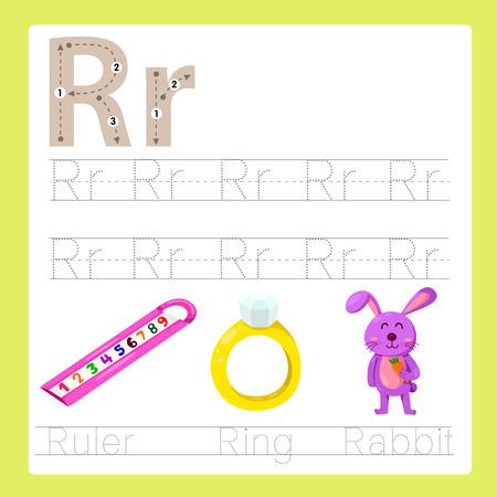 persona escribiendo: Ilustrador de ejercicio R AZ vocabulario de dibujos animados