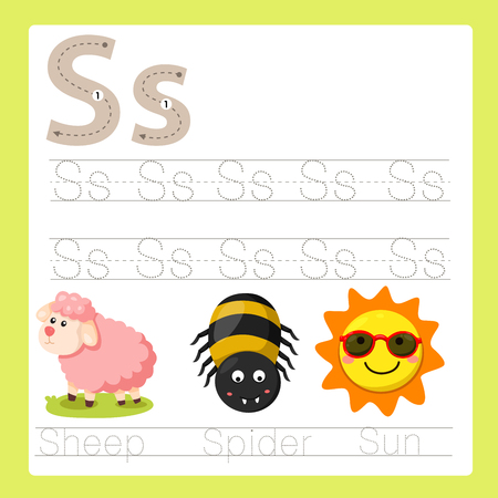 Illustrator of S exercise A-Z cartoon vocabulary