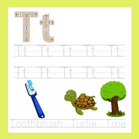 tortuga caricatura: Ilustrador de ejercicio T AZ vocabulario de dibujos animados