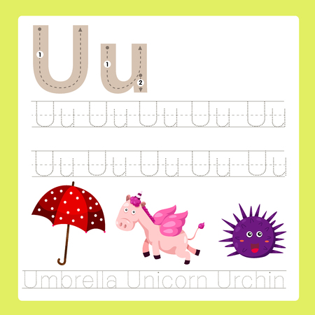 Illustrator of U exercise A-Z cartoon vocabulary Ilustração