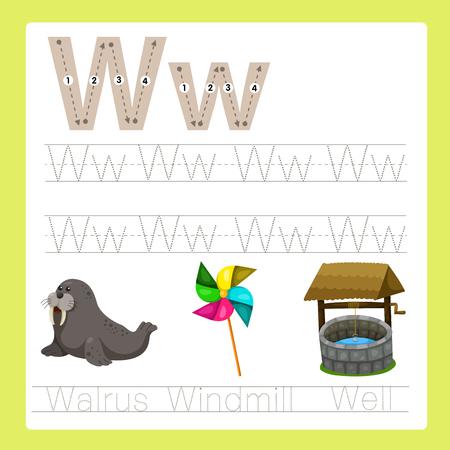 Illustrator of W exercise A-Z cartoon vocabulary Illustration