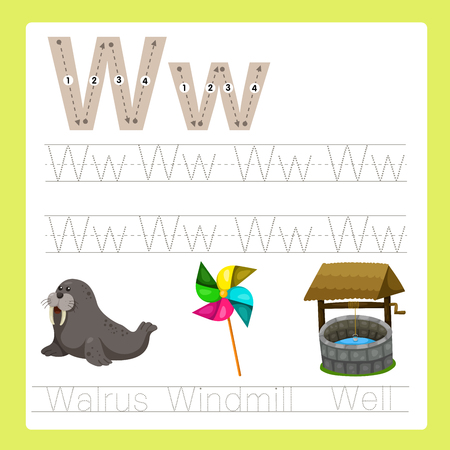 vocabulary: Illustrator of W exercise A-Z cartoon vocabulary Illustration
