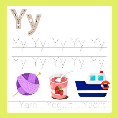 Illustrator of Y exercise A-Z cartoon vocabulary Illustration