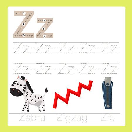 Illustrator of Z exercise A-Z cartoon vocabulary Illustration