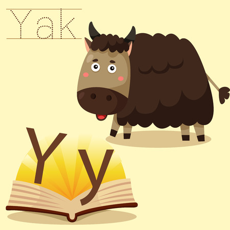 spelling book: Illustrator of y for yak vocabulary