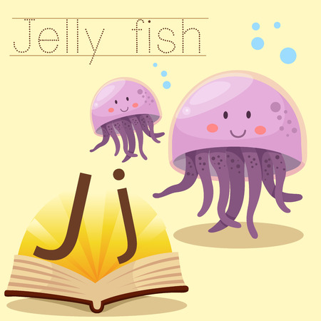 jelly fish: Illustrator of j for jelly fish vocabulary