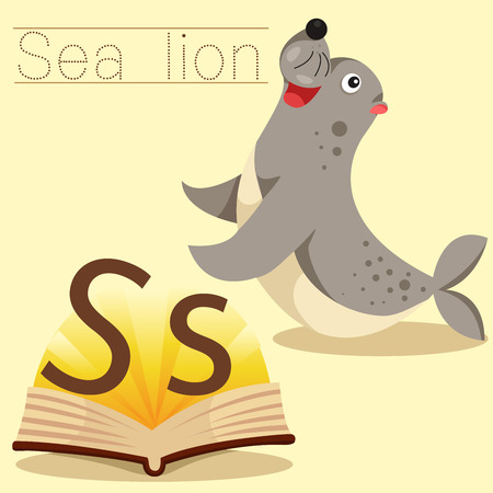 sea lion: Illustrator of s for sea lion vocabulary