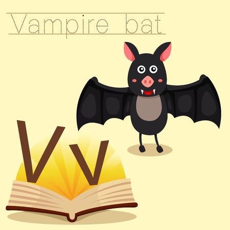 vampire bat: Illustrator of v for vampire bat vocabulary