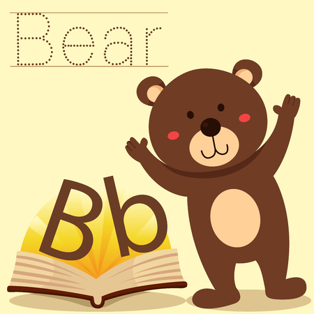 spelling book: Illustrator of b for bear vocabulary