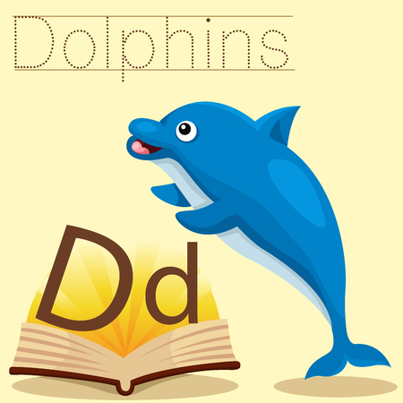 spelling book: Illustrator of d for dolphins vocabulary