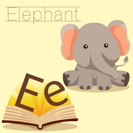 spelling book: Illustrator of e for elephant vocabulary