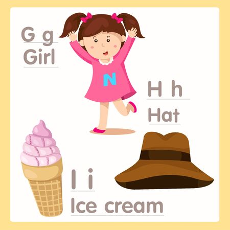 ice alphabet: Illustrator of G H I with alphabet Girl Hat and ice cream